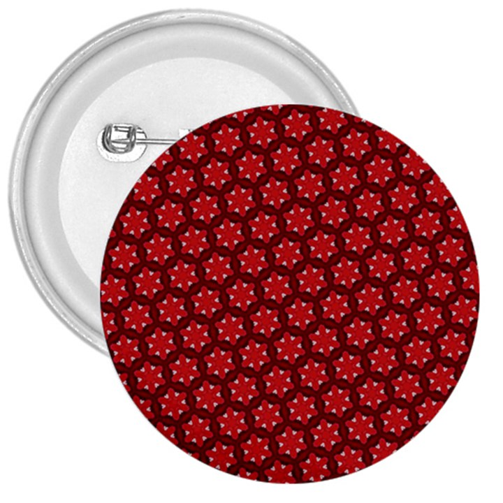 Red Passion Floral Pattern 3  Buttons