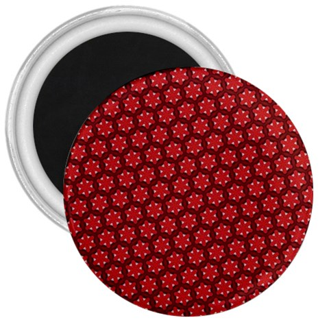 Red Passion Floral Pattern 3  Magnets