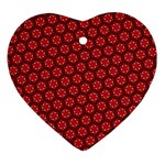 Red Passion Floral Pattern Ornament (Heart)  Front