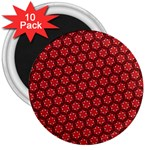 Red Passion Floral Pattern 3  Magnets (10 pack)  Front