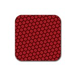 Red Passion Floral Pattern Rubber Coaster (Square)  Front