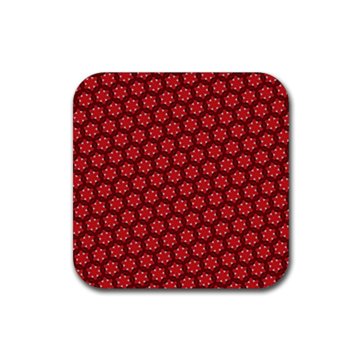 Red Passion Floral Pattern Rubber Coaster (Square)
