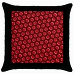 Red Passion Floral Pattern Throw Pillow Case (Black) Front