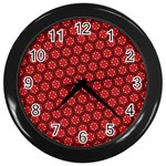 Red Passion Floral Pattern Wall Clocks (Black) Front