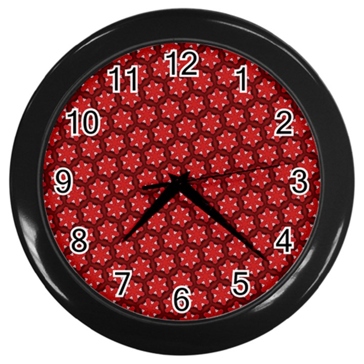 Red Passion Floral Pattern Wall Clocks (Black)