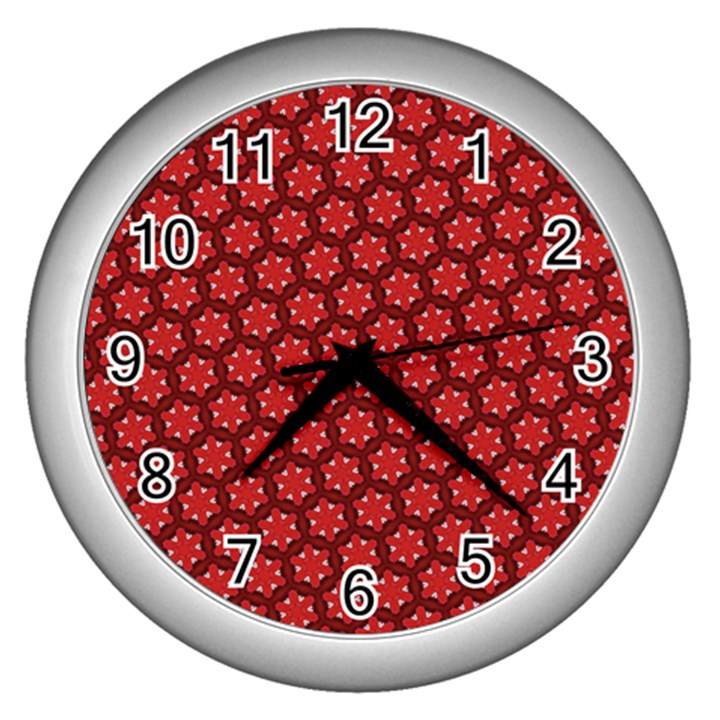 Red Passion Floral Pattern Wall Clocks (Silver)