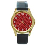 Red Passion Floral Pattern Round Gold Metal Watch Front