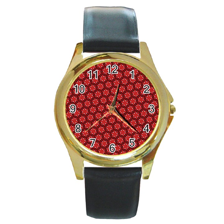 Red Passion Floral Pattern Round Gold Metal Watch