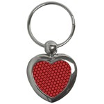 Red Passion Floral Pattern Key Chains (Heart)  Front