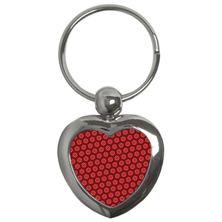 Red Passion Floral Pattern Key Chains (Heart)