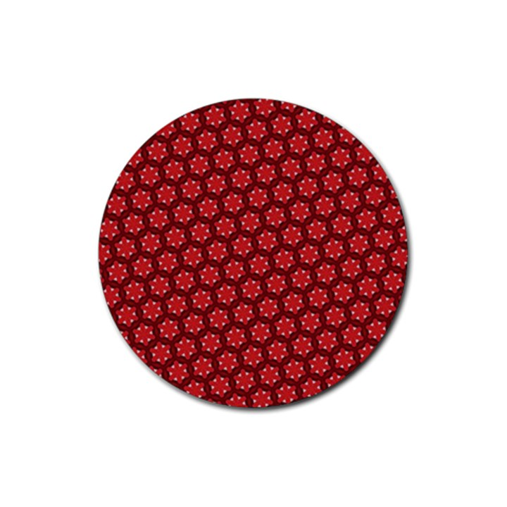 Red Passion Floral Pattern Rubber Round Coaster (4 pack)