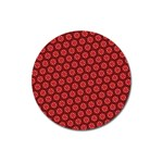 Red Passion Floral Pattern Magnet 3  (Round) Front