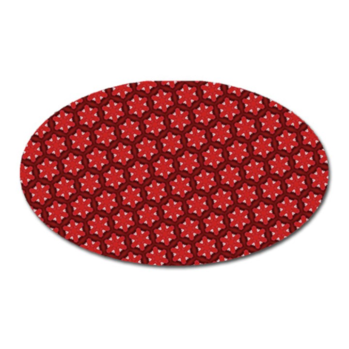 Red Passion Floral Pattern Oval Magnet