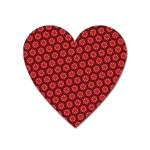 Red Passion Floral Pattern Heart Magnet Front
