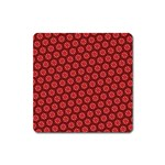 Red Passion Floral Pattern Square Magnet Front