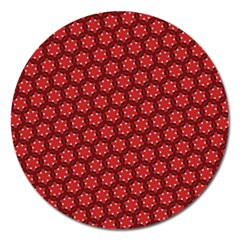 Red Passion Floral Pattern Magnet 5  (Round)