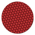 Red Passion Floral Pattern Magnet 5  (Round) Front