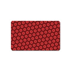 Red Passion Floral Pattern Magnet (name Card)