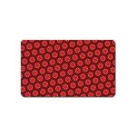 Red Passion Floral Pattern Magnet (Name Card) Front