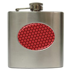 Red Passion Floral Pattern Hip Flask (6 oz)