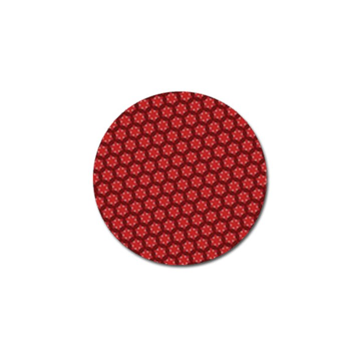 Red Passion Floral Pattern Golf Ball Marker