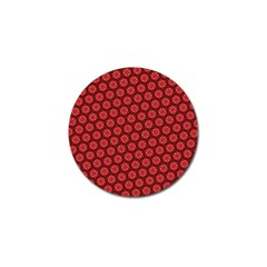 Red Passion Floral Pattern Golf Ball Marker (10 pack)