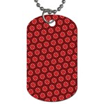 Red Passion Floral Pattern Dog Tag (Two Sides) Front