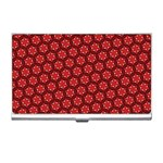 Red Passion Floral Pattern Business Card Holders Front