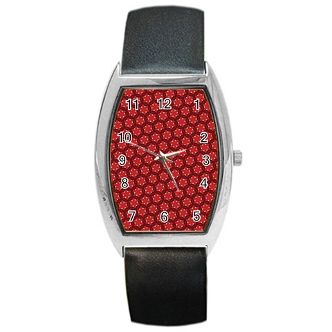 Red Passion Floral Pattern Barrel Style Metal Watch