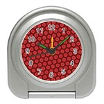 Red Passion Floral Pattern Travel Alarm Clocks Front