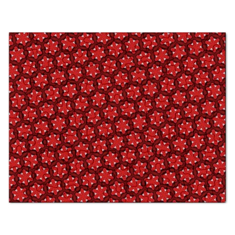 Red Passion Floral Pattern Rectangular Jigsaw Puzzl