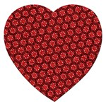 Red Passion Floral Pattern Jigsaw Puzzle (Heart) Front