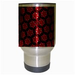 Red Passion Floral Pattern Travel Mug (Silver Gray) Center