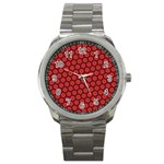 Red Passion Floral Pattern Sport Metal Watch Front