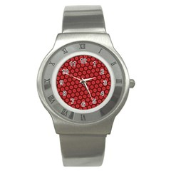 Red Passion Floral Pattern Stainless Steel Watch