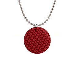 Red Passion Floral Pattern Button Necklaces