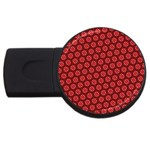 Red Passion Floral Pattern USB Flash Drive Round (4 GB)  Front