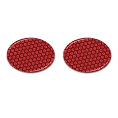 Red Passion Floral Pattern Cufflinks (oval)
