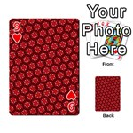 Red Passion Floral Pattern Playing Cards 54 Designs  Front - Heart9
