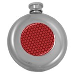 Red Passion Floral Pattern Round Hip Flask (5 oz) Front