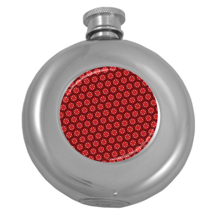 Red Passion Floral Pattern Round Hip Flask (5 oz)