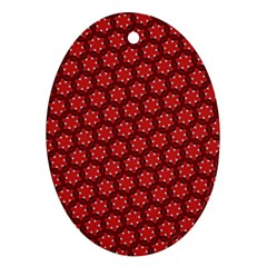 Red Passion Floral Pattern Oval Ornament (Two Sides)