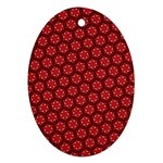 Red Passion Floral Pattern Oval Ornament (Two Sides) Front