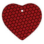 Red Passion Floral Pattern Heart Ornament (2 Sides) Back