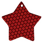 Red Passion Floral Pattern Star Ornament (Two Sides)  Front