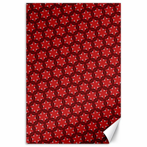 Red Passion Floral Pattern Canvas 24  x 36