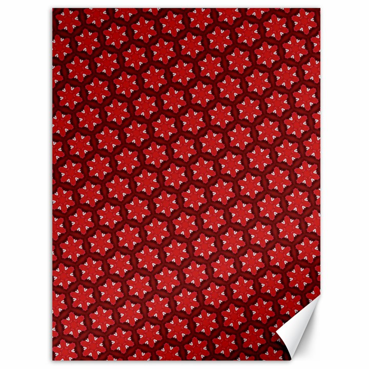 Red Passion Floral Pattern Canvas 36  x 48