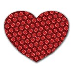 Red Passion Floral Pattern Heart Mousepads Front