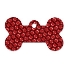 Red Passion Floral Pattern Dog Tag Bone (Two Sides)