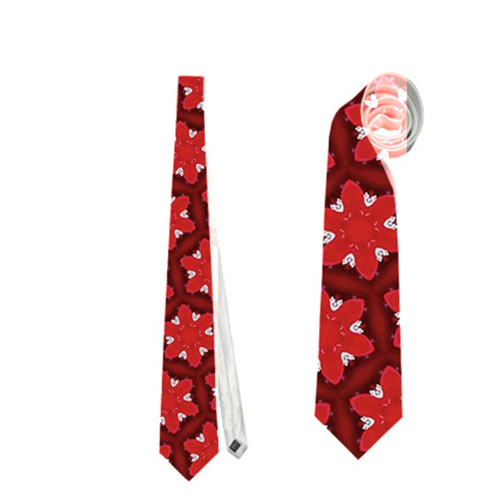 Red Passion Floral Pattern Neckties (One Side)